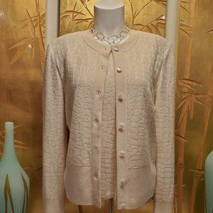 ST. JOHN CREAM CASHMERE SWEATER SET